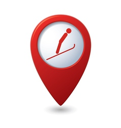 Map pointer with ski springboard icon vector image vector image