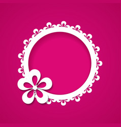 pink background with a floral frame vector image vector image