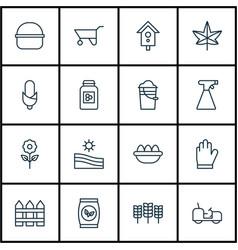 set of 16 garden icons includes wheelbarrow vector image vector image