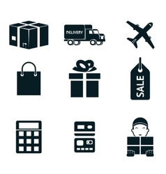 Shopping and shipping isolated icons set vector image vector image