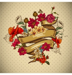 Vintage Floral Card with Ribbon vector image vector image