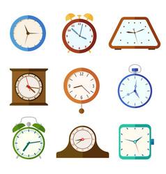 wall clock and alarm clocks time flat vector image vector image