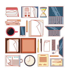 work time elements icons vector image