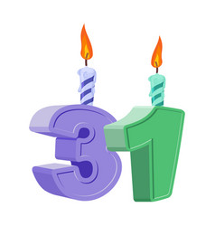 31 years birthday number with festive candle for vector image