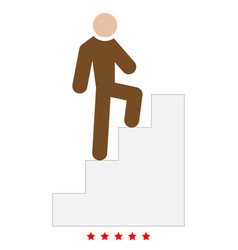 a man climbing stairs icon color fill style vector image