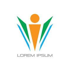 abstract leader teamwork logo vector image
