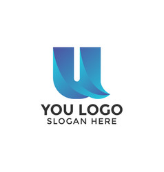 abstract u logo design template isolated vector image