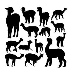 Alpaca animal silhouettes vector