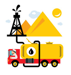Arab oil industry delivery vehicles flat vector