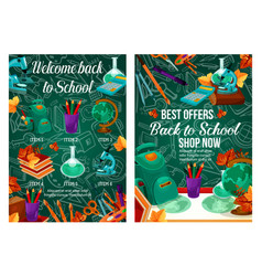 back to school banner of sale promotion template vector image