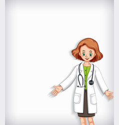 background template design with happy doctor vector image