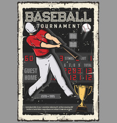 Baseball tournament player and ball scoreboard vector