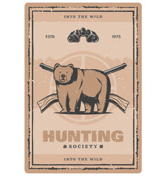 bear hunting retro poster vector image
