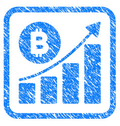bitcoin growing trend framed stamp vector image