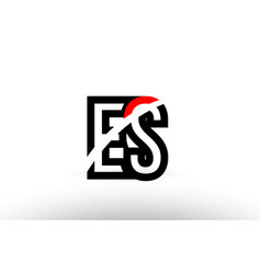 Black white alphabet letter es e s logo icon vector