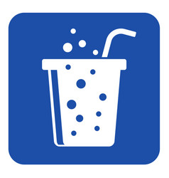 Blue white information sign - carbonated drink vector