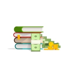 Books stack with pile cash coins vector