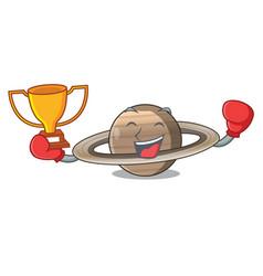 Boxing winner planet saturn above the sky cartoon vector