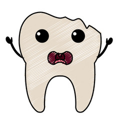 broken tooth character isolated icon vector image