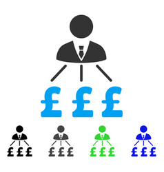 Businessman pound expenses flat icon vector