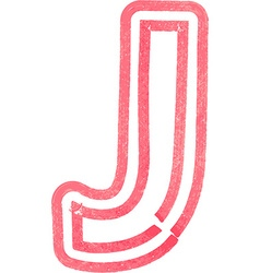 Capital letter J drawing with Red Marker vector image