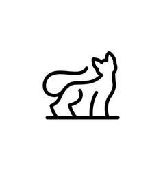 cat monoline outline logo icon vector image
