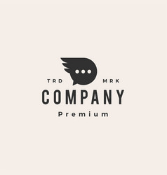 chat wing hipster vintage logo icon vector image