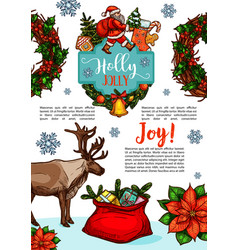 Christmas holiday wish sketch greeting vector