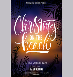 christmas on the beach poster vector image