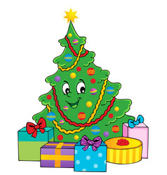christmas tree theme 1 vector image