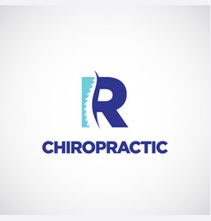 Clean r initial letter chiropractic logo vector