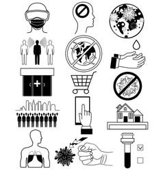 Coronavirus bacteria icons 2019-ncov coronavirus vector