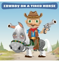 Cowboy rider on a tired horse vector
