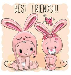 cute cartoon baby and bunny vector image