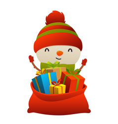 cute cartoon snowman behind toy bag with gifts vector image