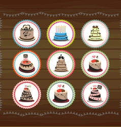 Cute cubcakes tags vector