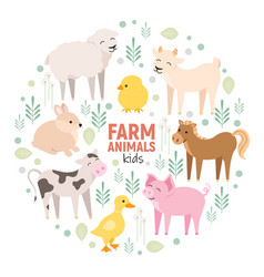 Cute farm animals cow pig lamb donkey bunny vector