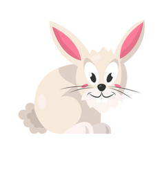 Cute pink rabbit isolated on white vector