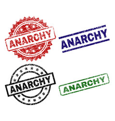 Damaged textured anarchy seal stamps vector