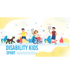 Disabled child sport hob poster template vector