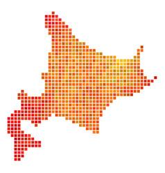 Dot orange hokkaido island map vector