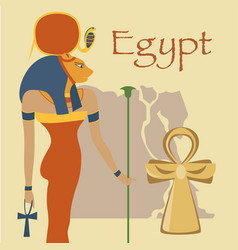 Egypt hathor goddess and ankh cross symbols of vector