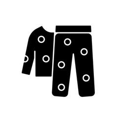 Fleece pyjamas black glyph icon vector