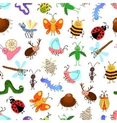 Fly and creeping cute cartoon insects vector