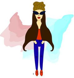 girl hipster in glasses vector image