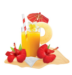 Glass of pineapple juice and fresh pineapple vector