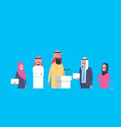 Group of arab business people speakers on vector