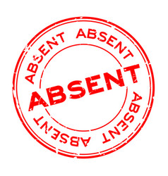 Grunge absent word round rubber seal stamp vector