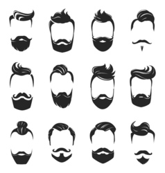 Hairstyles Beard And Hair Monochrome Set vector image