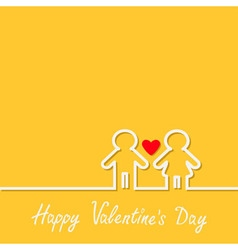 Happy Valentines Day Love card Man and Woman white vector